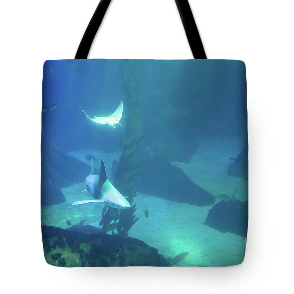 Underwater Tote Bag featuring the photograph Underwater Blue Background by Benny Marty