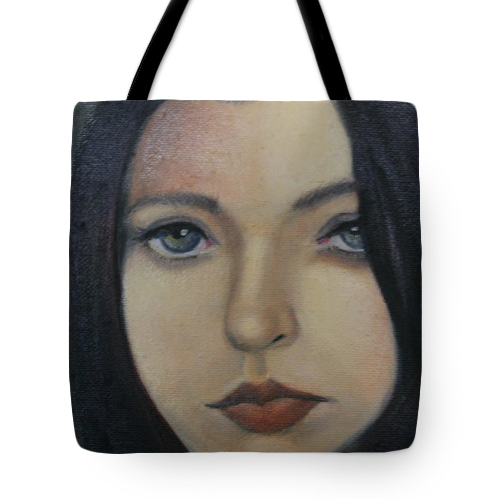 Girl Tote Bag featuring the painting That Stare by Toni Berry