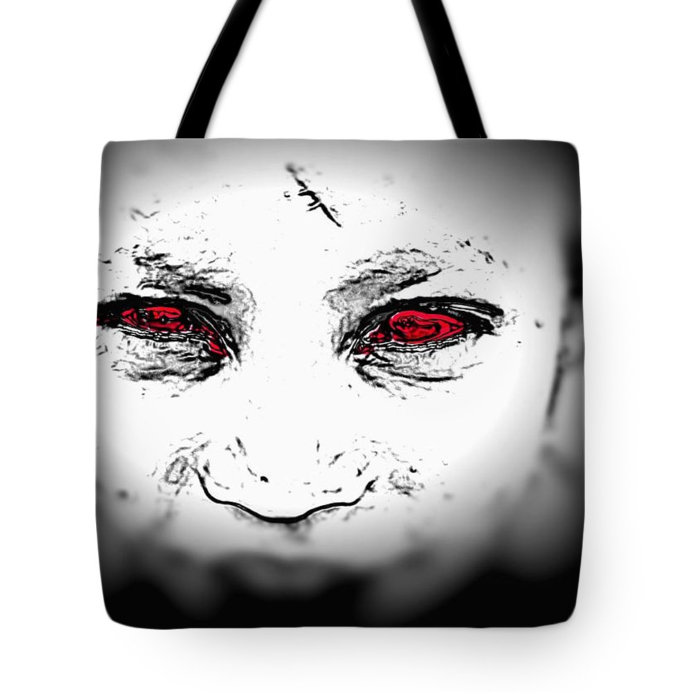 Eyes Face Looks Black And White Red Tote Bag featuring the digital art Untitled by Veronica Jackson