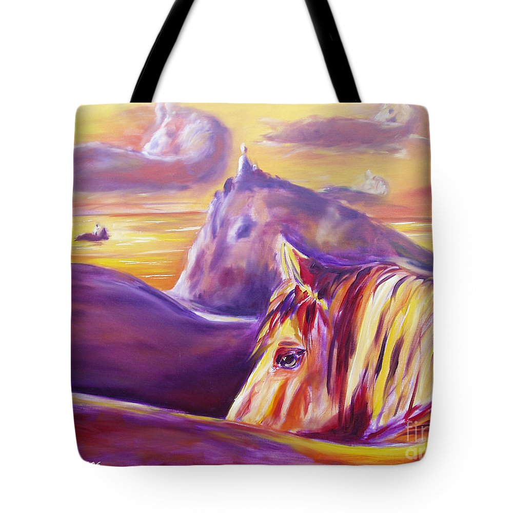 Horses Tote Bag featuring the painting Horse World by Gina De Gorna