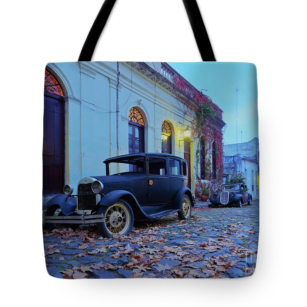 South America Tote Bag featuring the photograph Vintage Cars In Colonia Del Sacramento, Uruguay by Karol Kozlowski