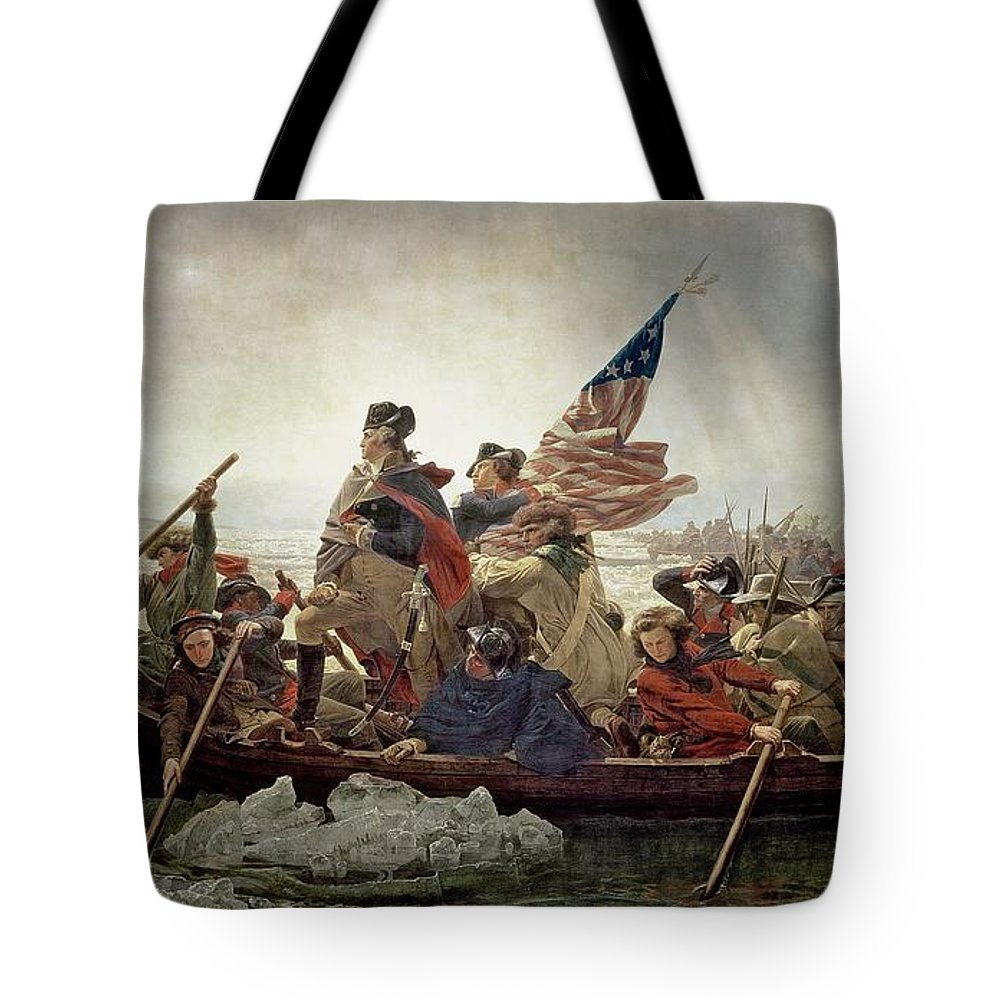 American War Of Independence; Ice Floes; Boats; Flag; American; Floe; Boat; Rowing; Banner; Flag; Colonial Troops; Troop; Winter; Army; American Revolutionary War; Battle Of Trenton; Stars And Stripes; Intrepid; Brave; New Jersey; Soldiers; Male; Military Uniform; Emanuel Gottlieb Leutze Tote Bag featuring the painting Washington Crossing The Delaware River by Emanuel Gottlieb Leutze