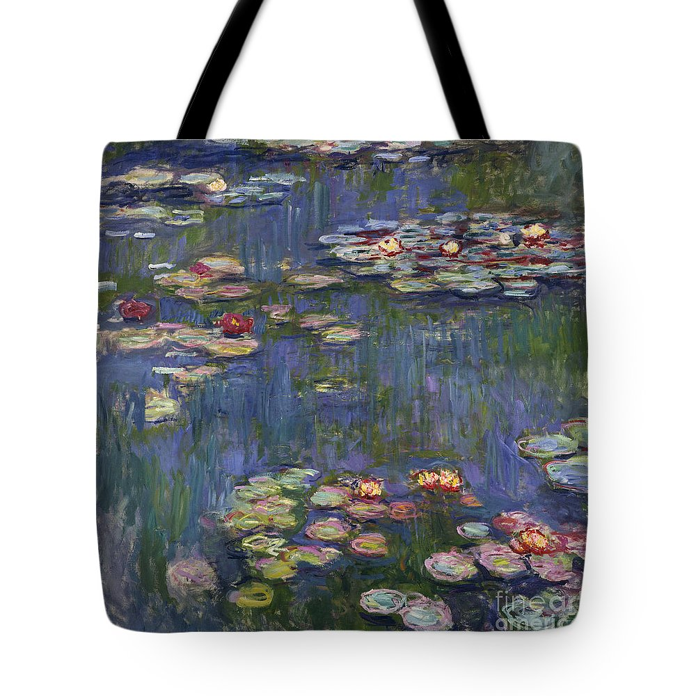 Monet Tote Bag featuring the painting Water Lilies, 1916 by Claude Monet