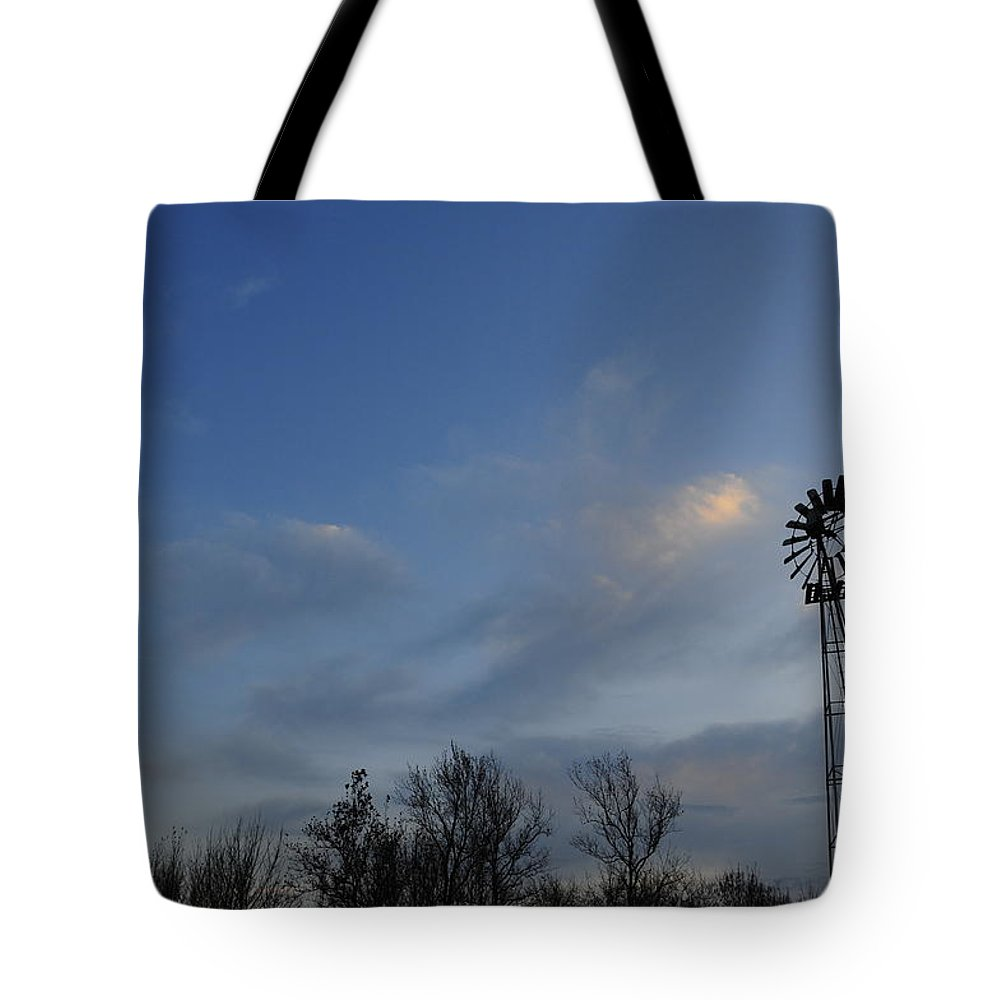 Moon Tote Bag featuring the photograph Windmill At Dusk by David Arment