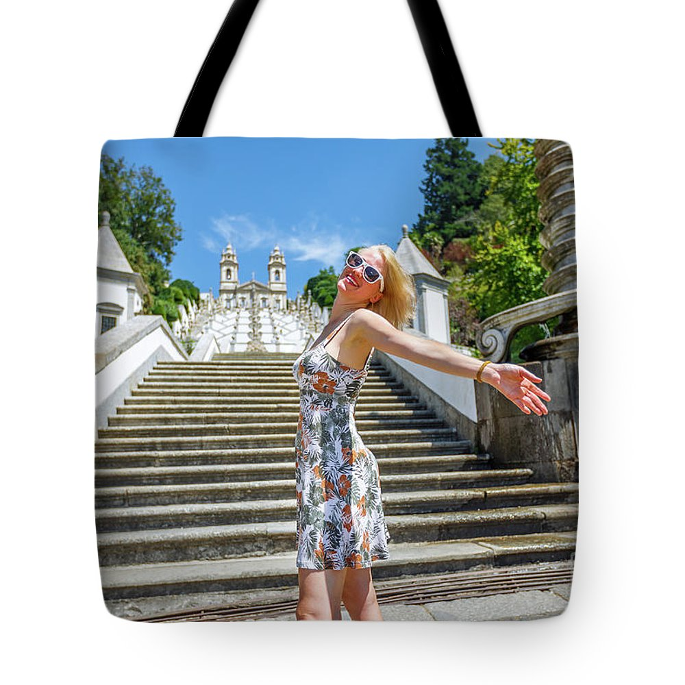 Braga Tote Bag featuring the photograph Woman In Portugal by Benny Marty