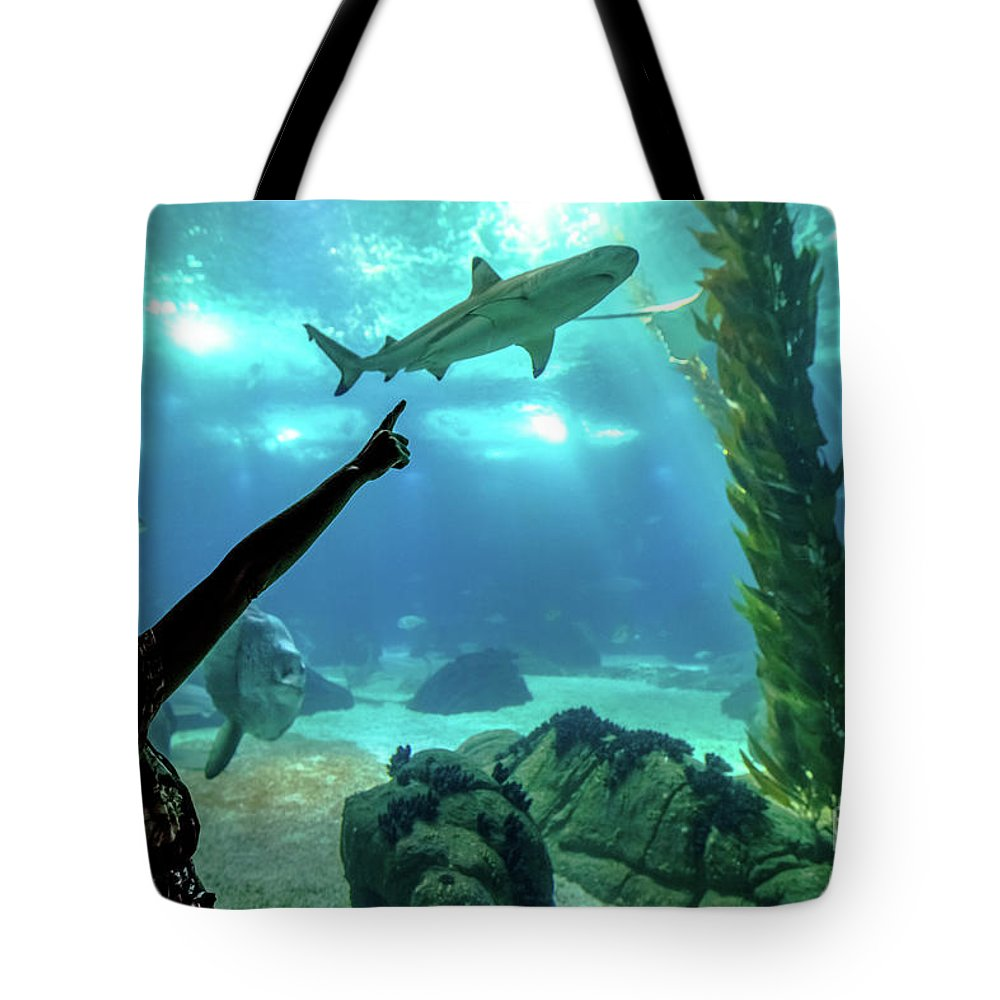 Underwater Tote Bag featuring the photograph Woman Shark Enjoyng by Benny Marty