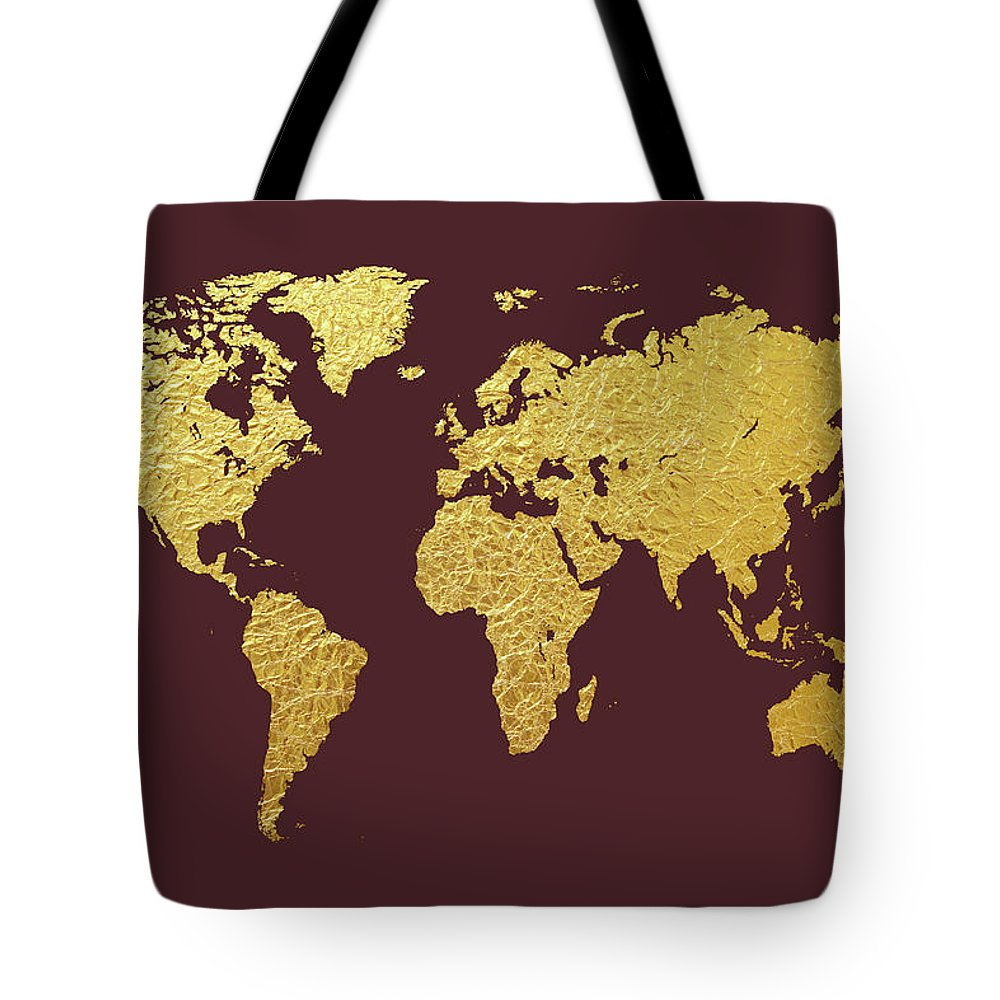 World Map Tote Bag featuring the digital art World Map Gold Foil by Michael Tompsett