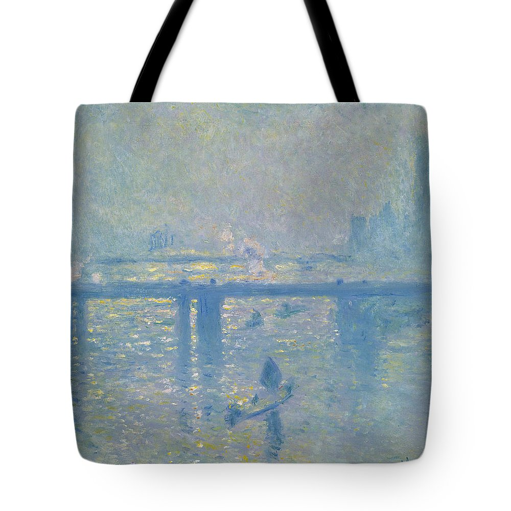 Claude Monet Tote Bag featuring the painting Charing Cross Bridge by Claude Monet