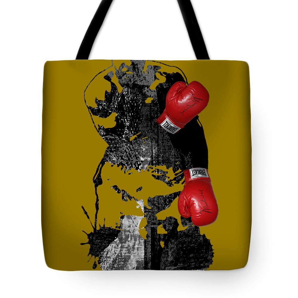 Sports Tote Bag featuring the mixed media Muhammad Ali Collection by Marvin Blaine