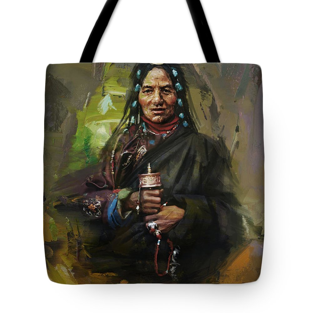 Sindh Tote Bag featuring the painting 20 Pakistan Folk Gilgit by Maryam Mughal