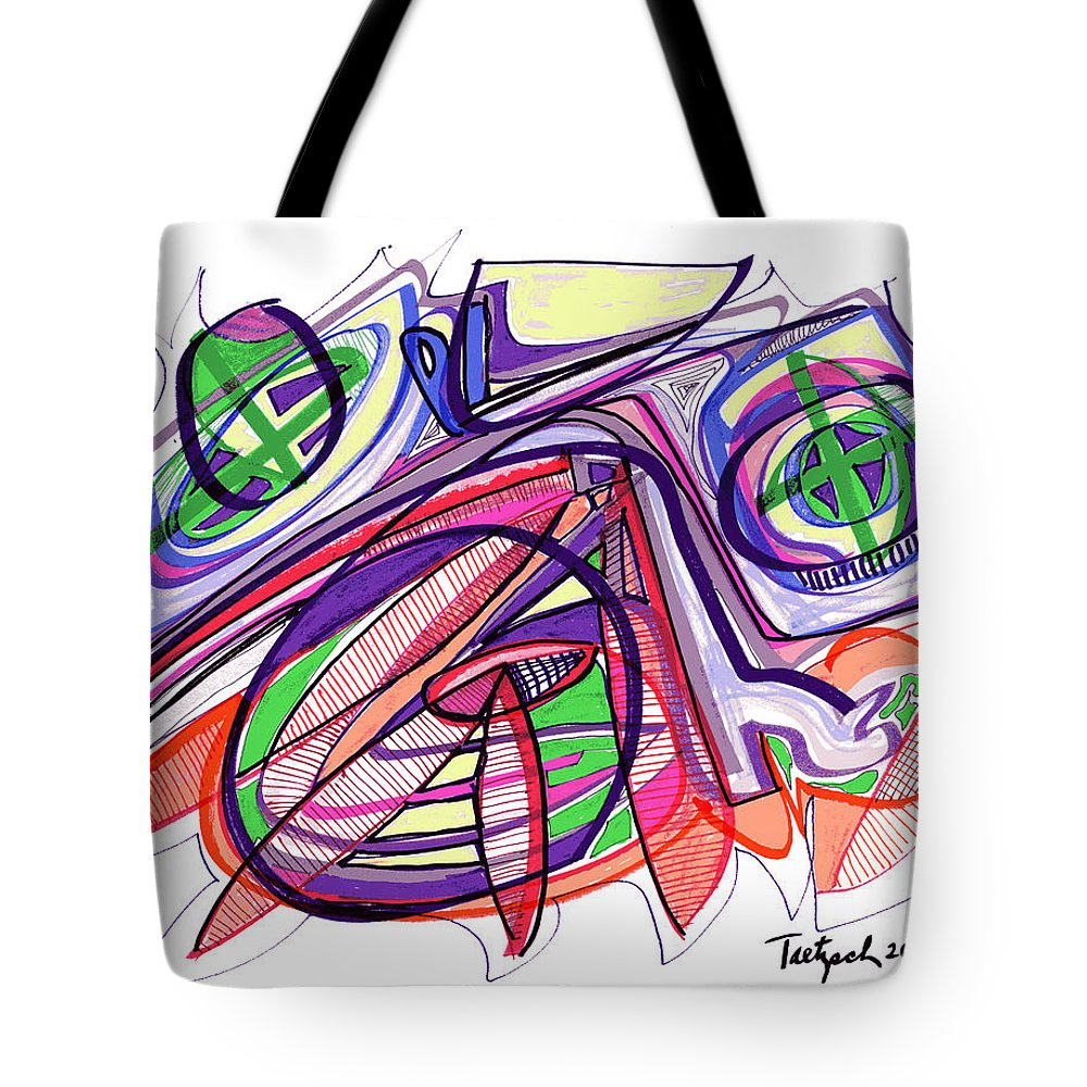 Abstract Art Tote Bag featuring the drawing 2010 Abstract Drawing Eleven by Lynne Taetzsch