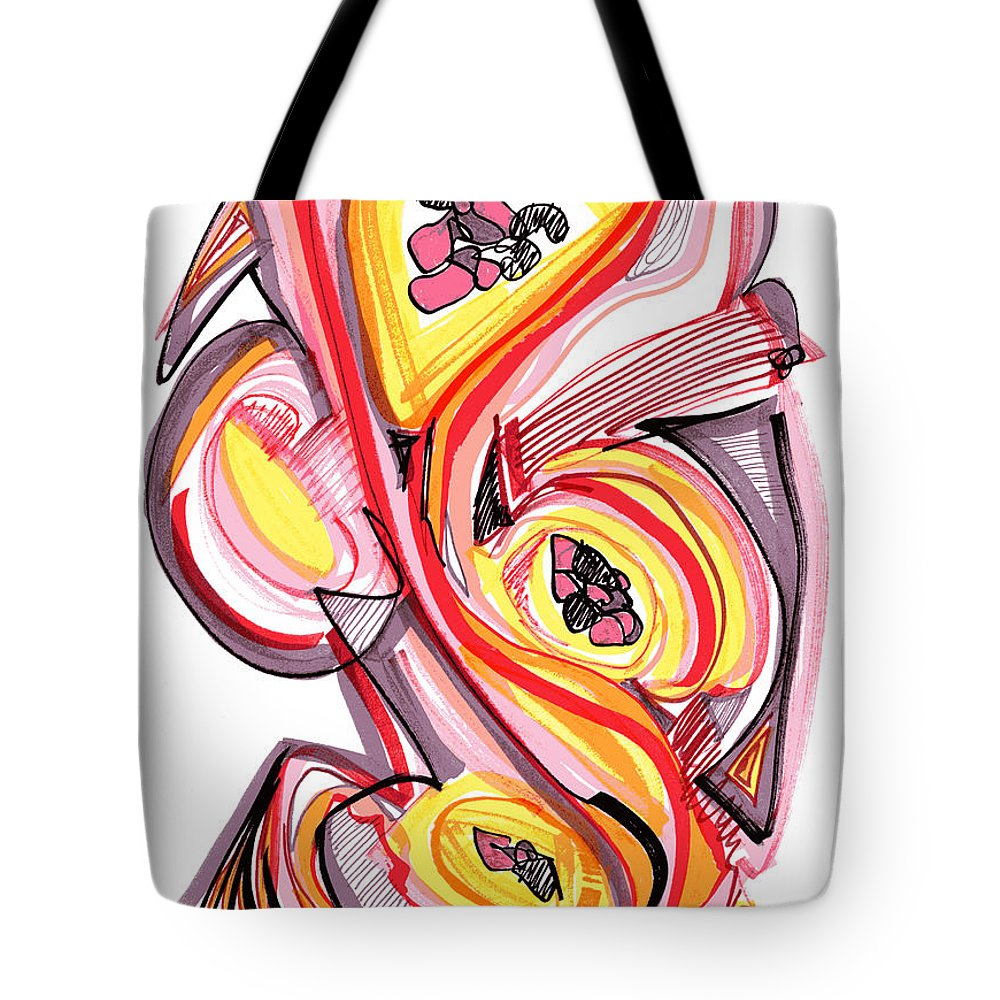 Abstract Art Tote Bag featuring the drawing 2010 Abstract Drawing Nine by Lynne Taetzsch