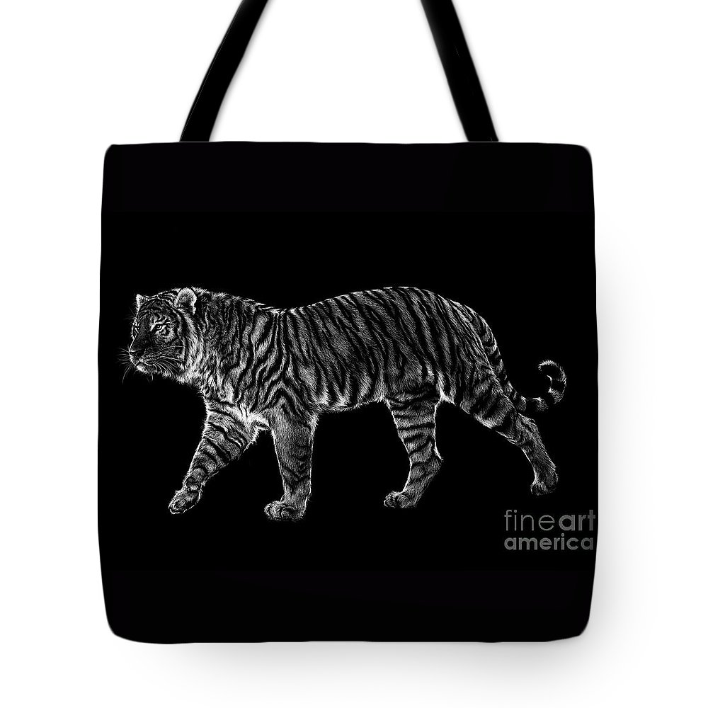 Siberian Tote Bag featuring the drawing Tigers Gait by Laurie Musser