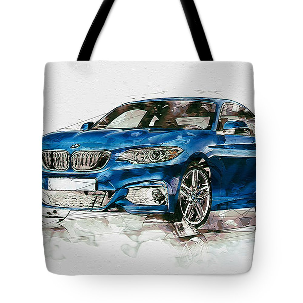 Wheels Of Fortune By Serge Averbukh Tote Bag featuring the photograph 2014 B M W 2 Series Coupe With 3d Badge by Serge Averbukh
