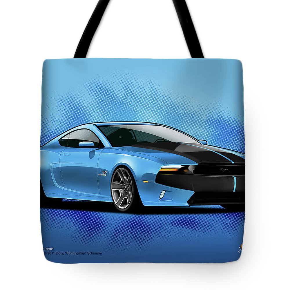 Cars Tote Bag featuring the digital art 2014 Mustang by Doug Schramm