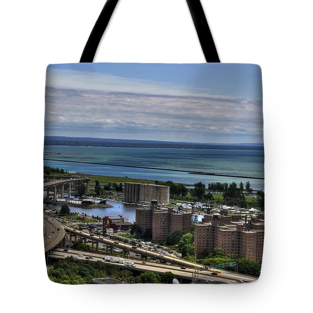 Buffalo Tote Bag featuring the photograph 2015 View Of The Skyway And Harbor by Michael Frank Jr