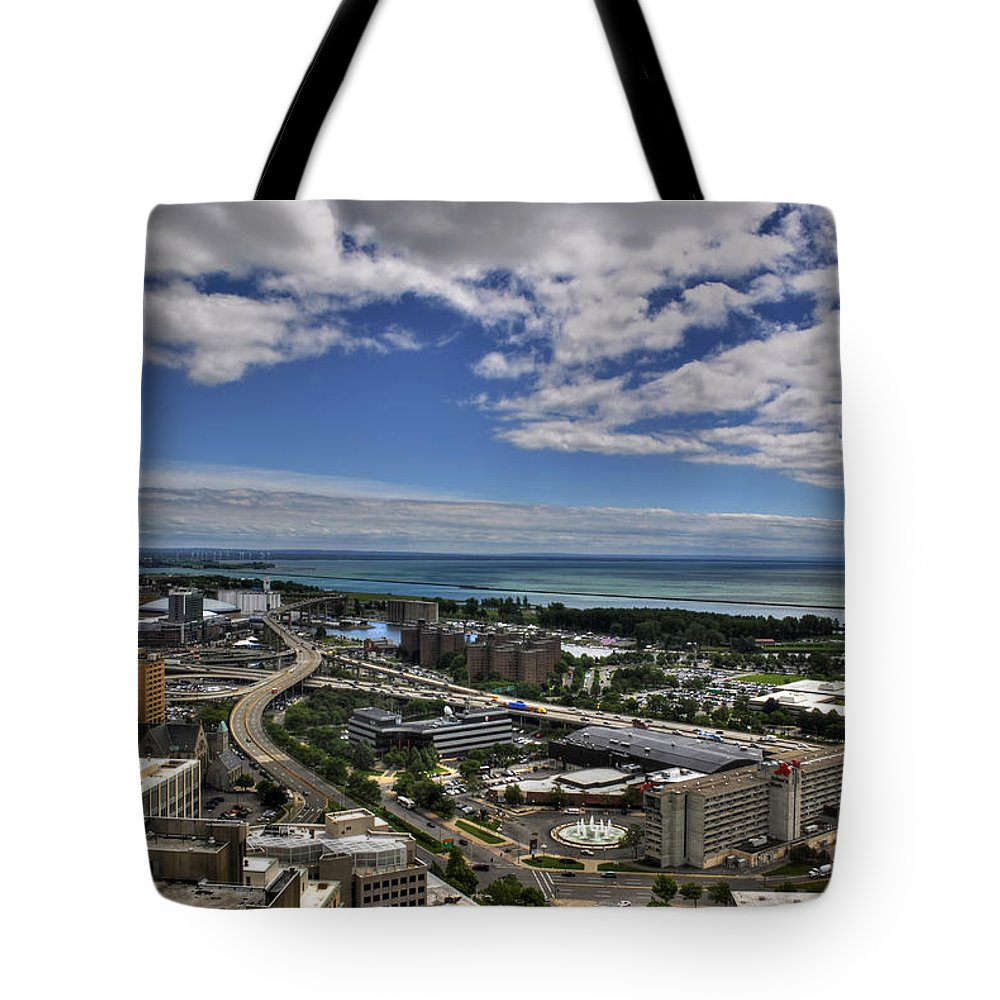 Buffalo Tote Bag featuring the photograph 2015 View Of The Skyway by Michael Frank Jr