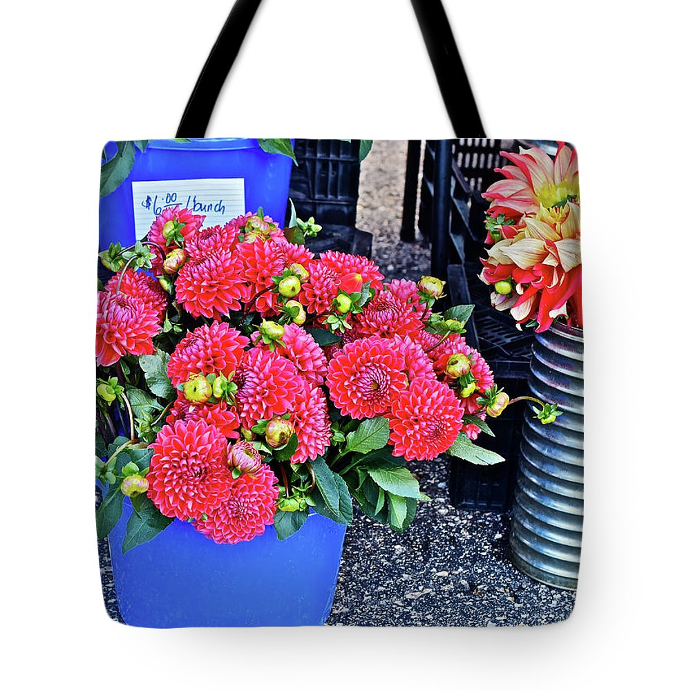 Dahllias Tote Bag featuring the photograph 2016 Monona Farmer's Market Blue Bucket Of Dahlias by Janis Nussbaum Senungetuk