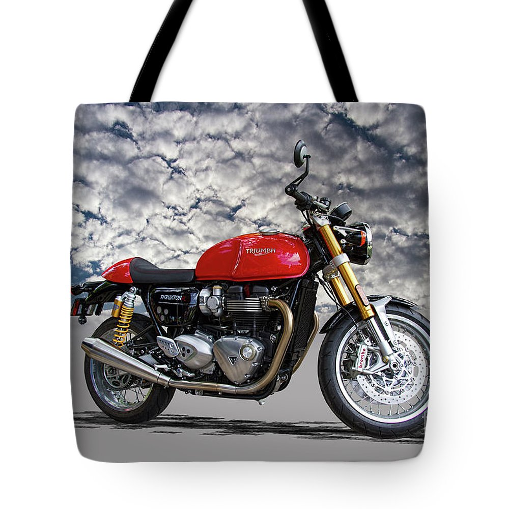 2016 Tote Bag featuring the photograph 2016 Triumph Cafe Racer Motorcycle by Nick Gray