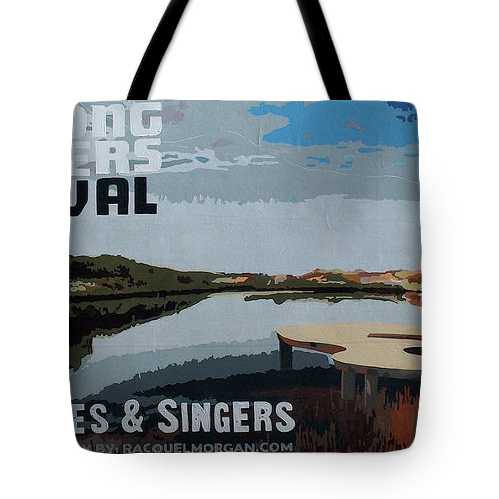 30a Songwriters Festival Tote Bag featuring the painting 2017 30A Songwriters Festival Banner by Racquel Morgan