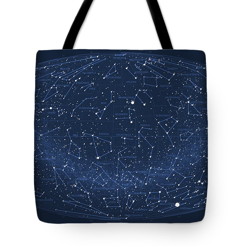 Pi Tote Bag featuring the digital art 2017 Pi Day Star Chart Hammer/aitoff Projection 2017 by Martin Krzywinski