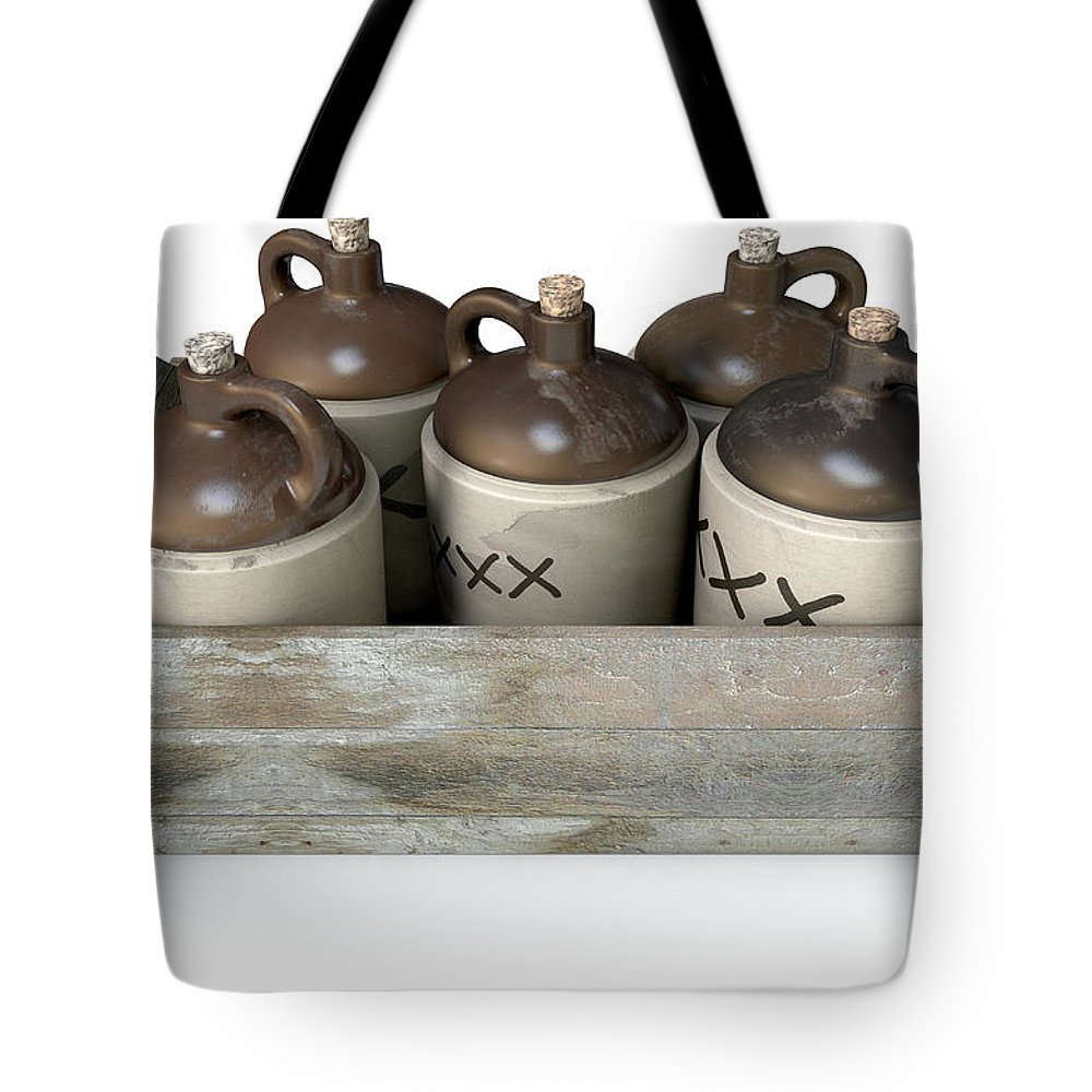 Jug Tote Bag featuring the digital art Moonshine In Wooden Crate by Allan Swart