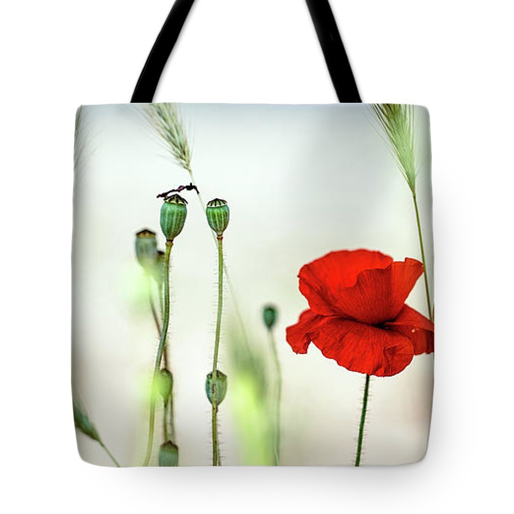 Poppy Tote Bag featuring the photograph Summer Poppy Meadow by Nailia Schwarz