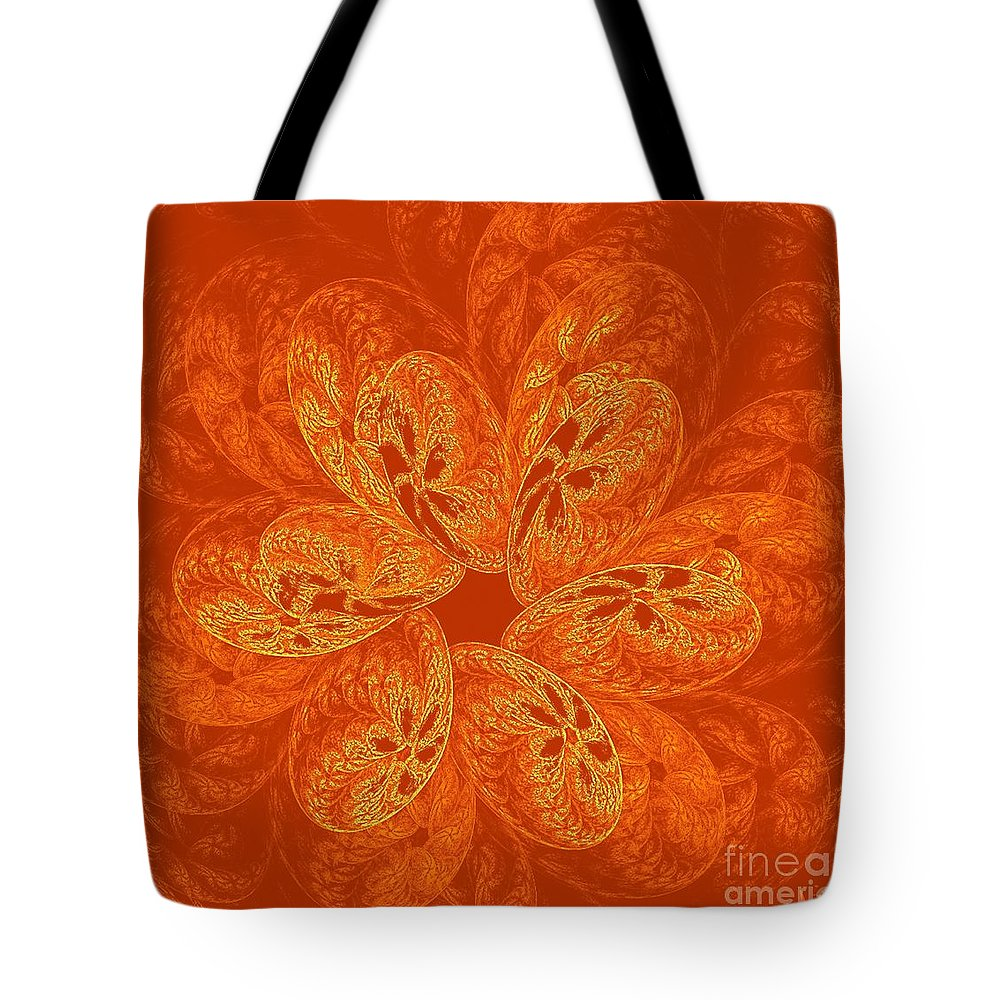 Abstract Tote Bag featuring the digital art 221-mandala In Bright Orange by Silvia Giussani