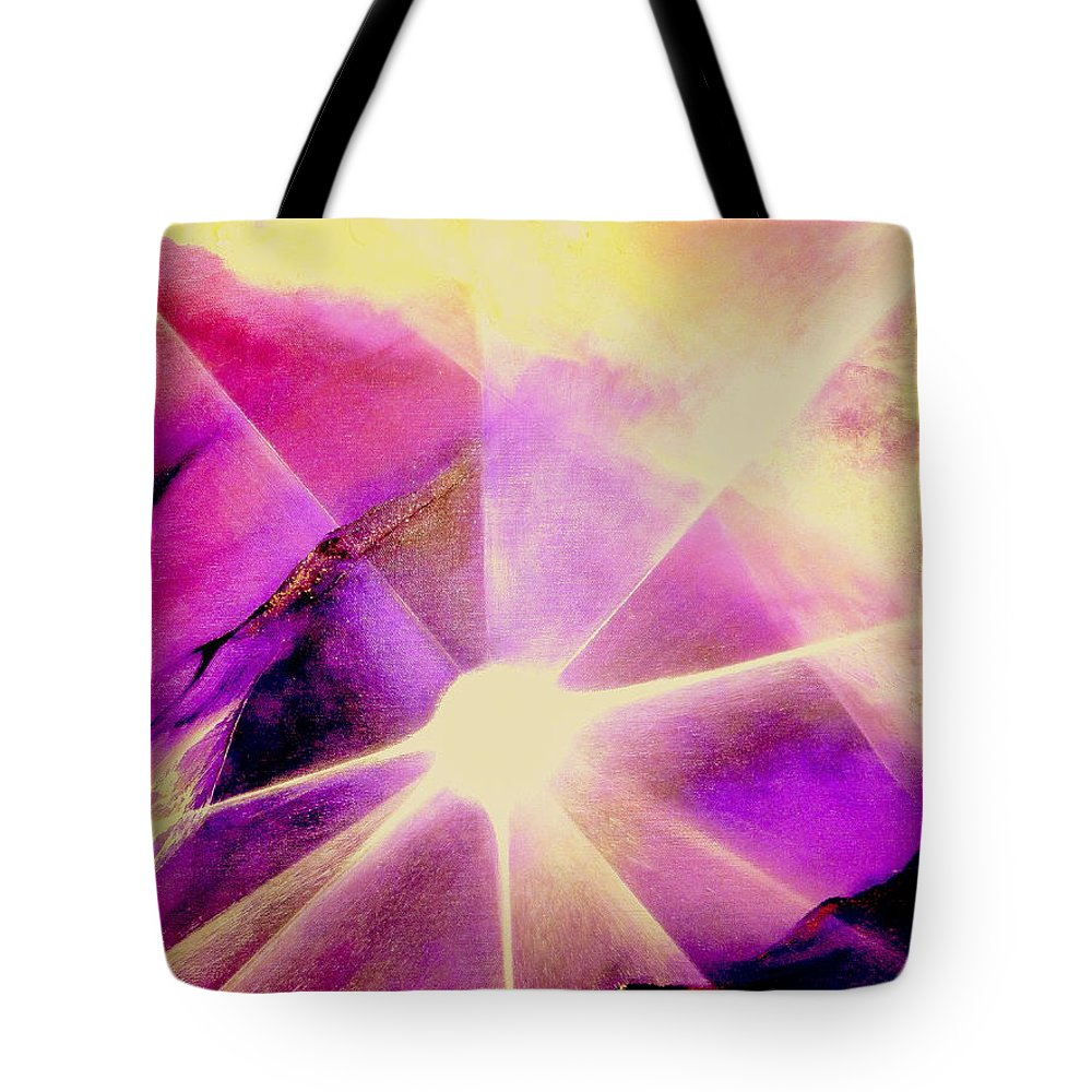 Sunrise.light Tote Bag featuring the painting Rising Sun by Kumiko Mayer