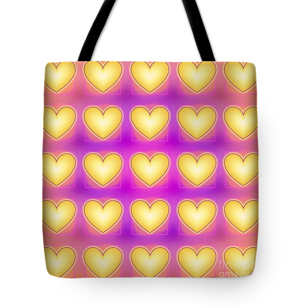 Yellow Love Hearts Tote Bag featuring the digital art 25 Little Yellow Love Hearts by Geraldine Cote