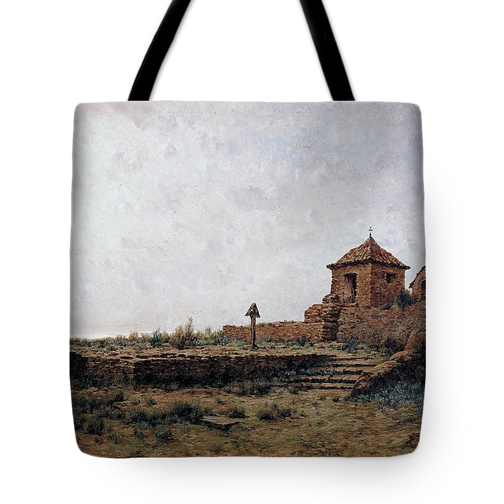 Modest Urgell - Landscape Tote Bag featuring the painting Landscape by Celestial Images