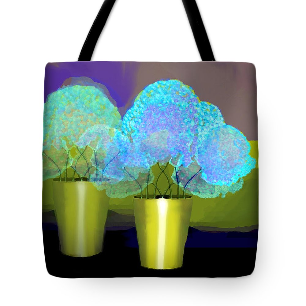 2701 Blue Flowers 2018 V Tote Bag featuring the digital art 2701 Blue Flowers 2018 V by Irmgard Schoendorf Welch
