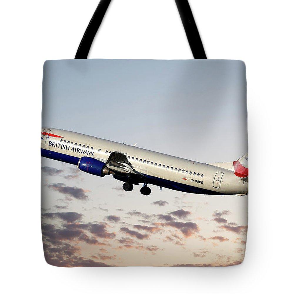 British Airways Tote Bag featuring the photograph British Airways Boeing 737-400 28 by Smart Aviation