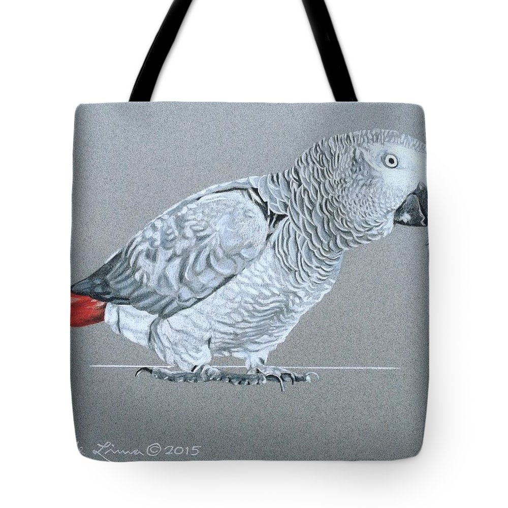 African Tote Bag featuring the drawing African Grey Parrot by Pio De Lima
