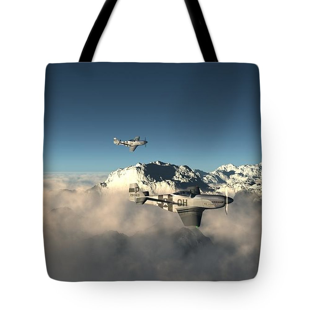 Aircraft Tote Bag featuring the digital art Aircraft by Dorothy Binder