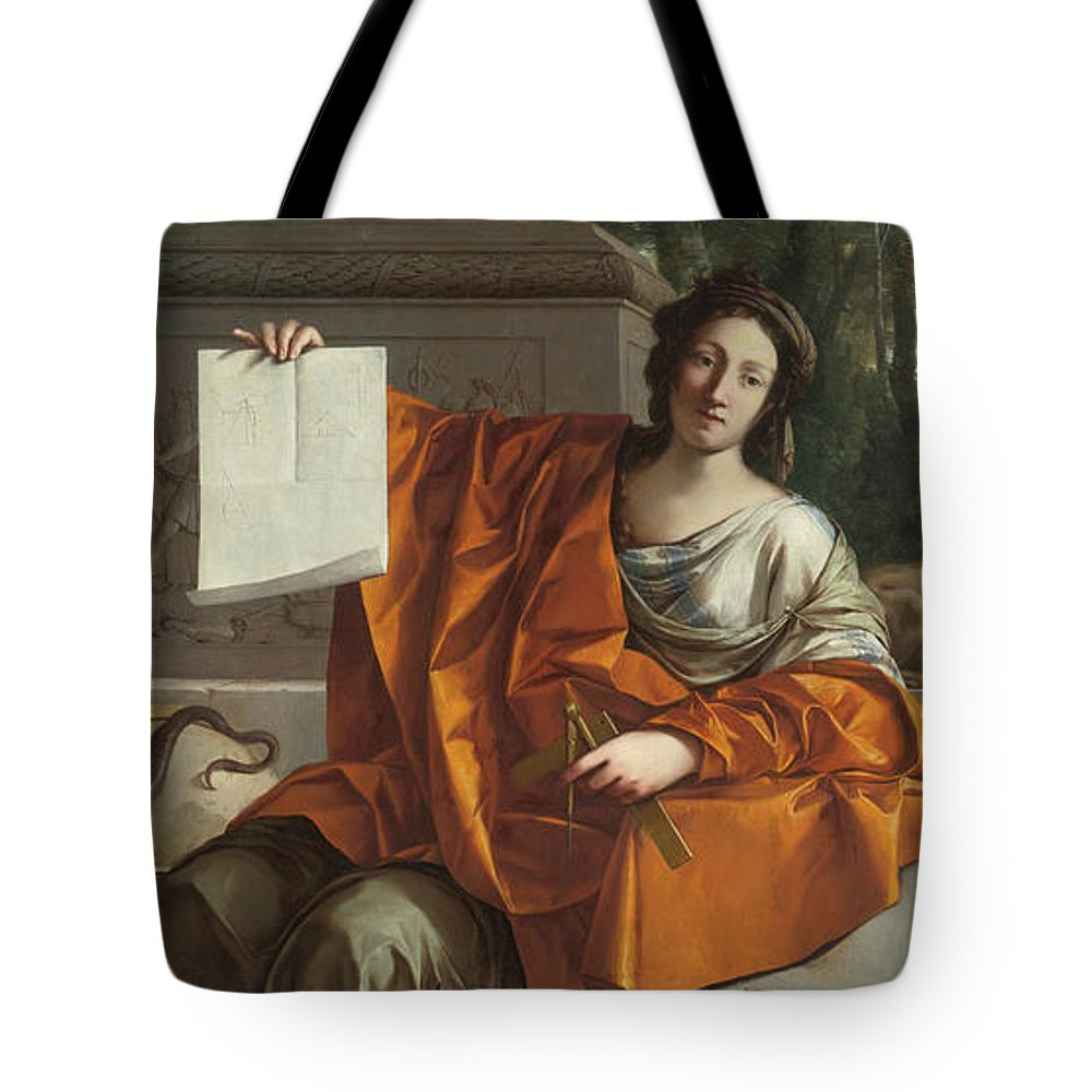 Laurent De La Hyre (french Tote Bag featuring the painting Allegory Of Geometry by MotionAge Designs