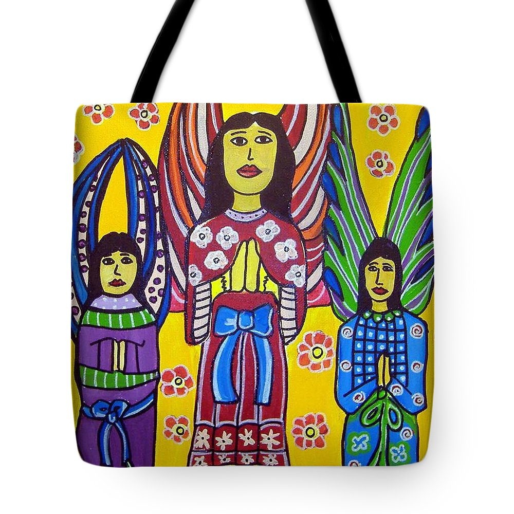 Angels Tote Bag featuring the painting 3 Angels by Anggelyka Apostle