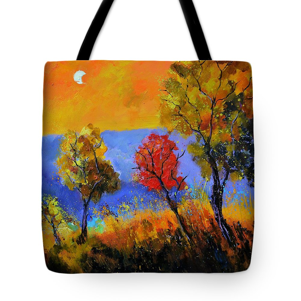 Landscape Tote Bag featuring the painting Autumn Colors by Pol Ledent