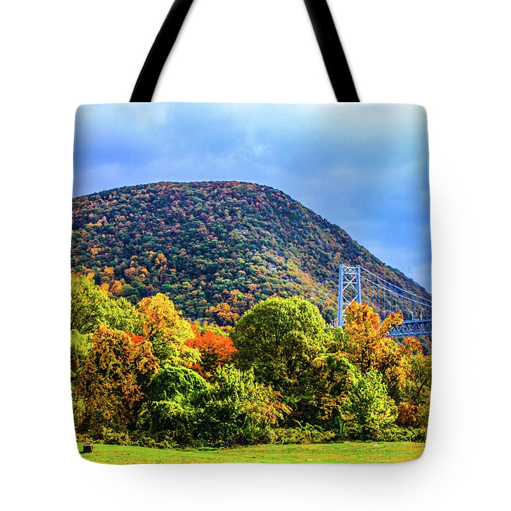 This Is View Of The Bear Mountain Bridge In New York State During The Fall Season. Tote Bag featuring the photograph Bear Mountain Bridge by William Rogers