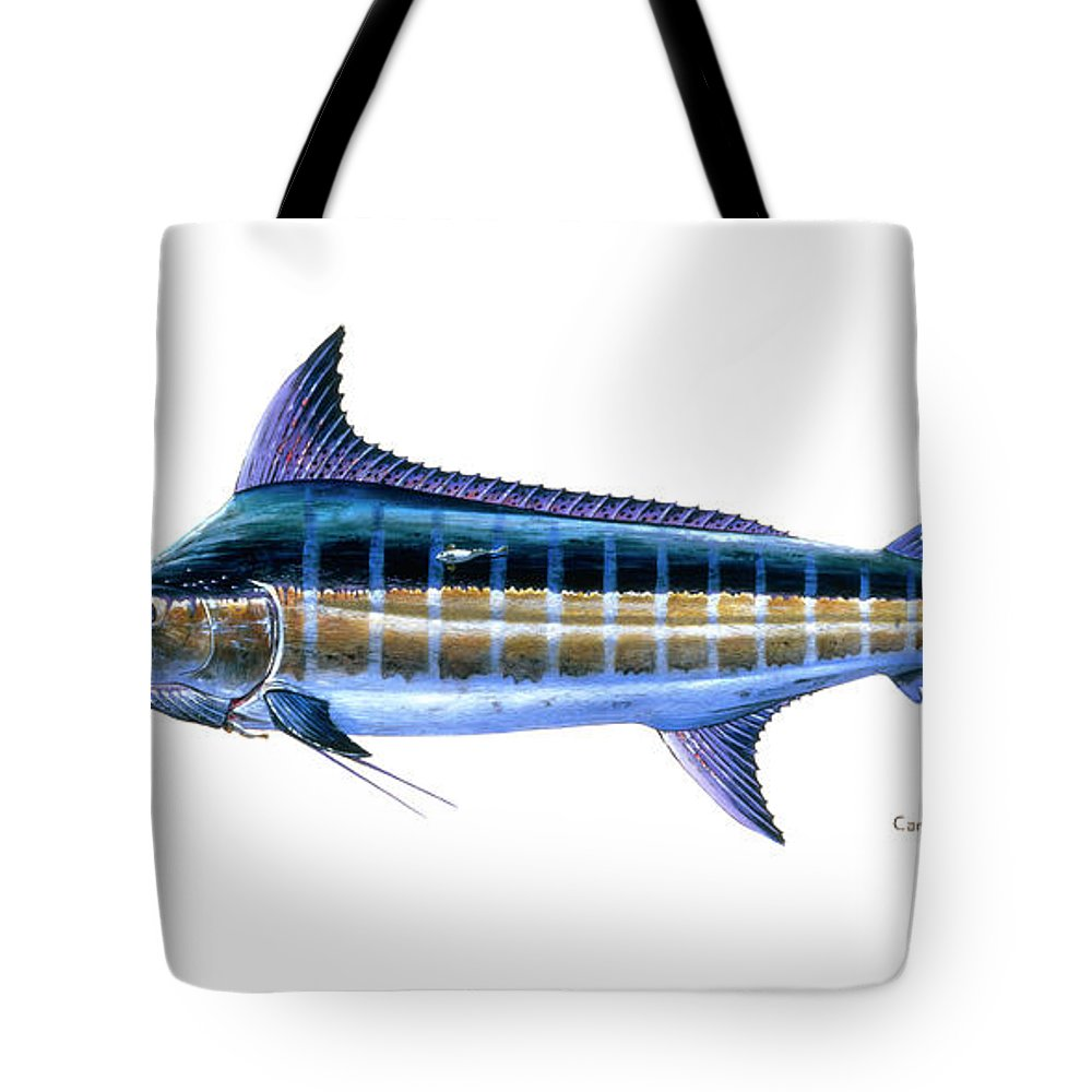 Blue Marlin Tote Bag featuring the painting Blue Marlin 3 by Carey Chen