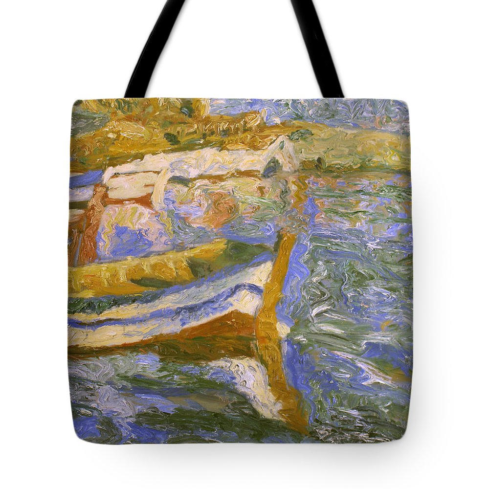 Landscape Tote Bag featuring the painting Boats by Robert Nizamov