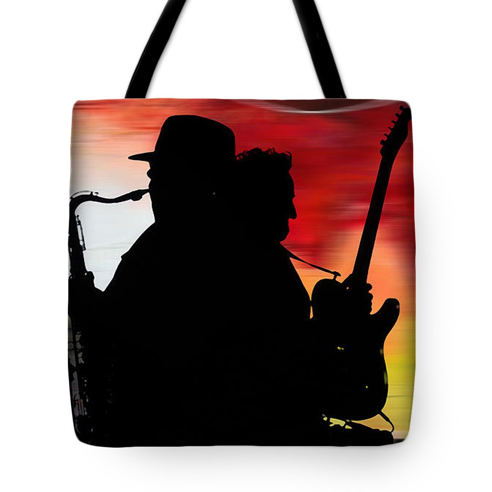 Bruce Springsteen Watercolor Portrait On Worn Distressed Canvas Mixed Media Mixed Media Tote Bag featuring the mixed media Bruce Springsteen Clarence Clemons by Marvin Blaine