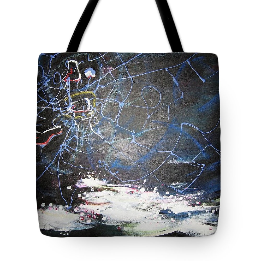 Abstract Paintings Tote Bag featuring the painting Buckwheat Field by Seon-Jeong Kim