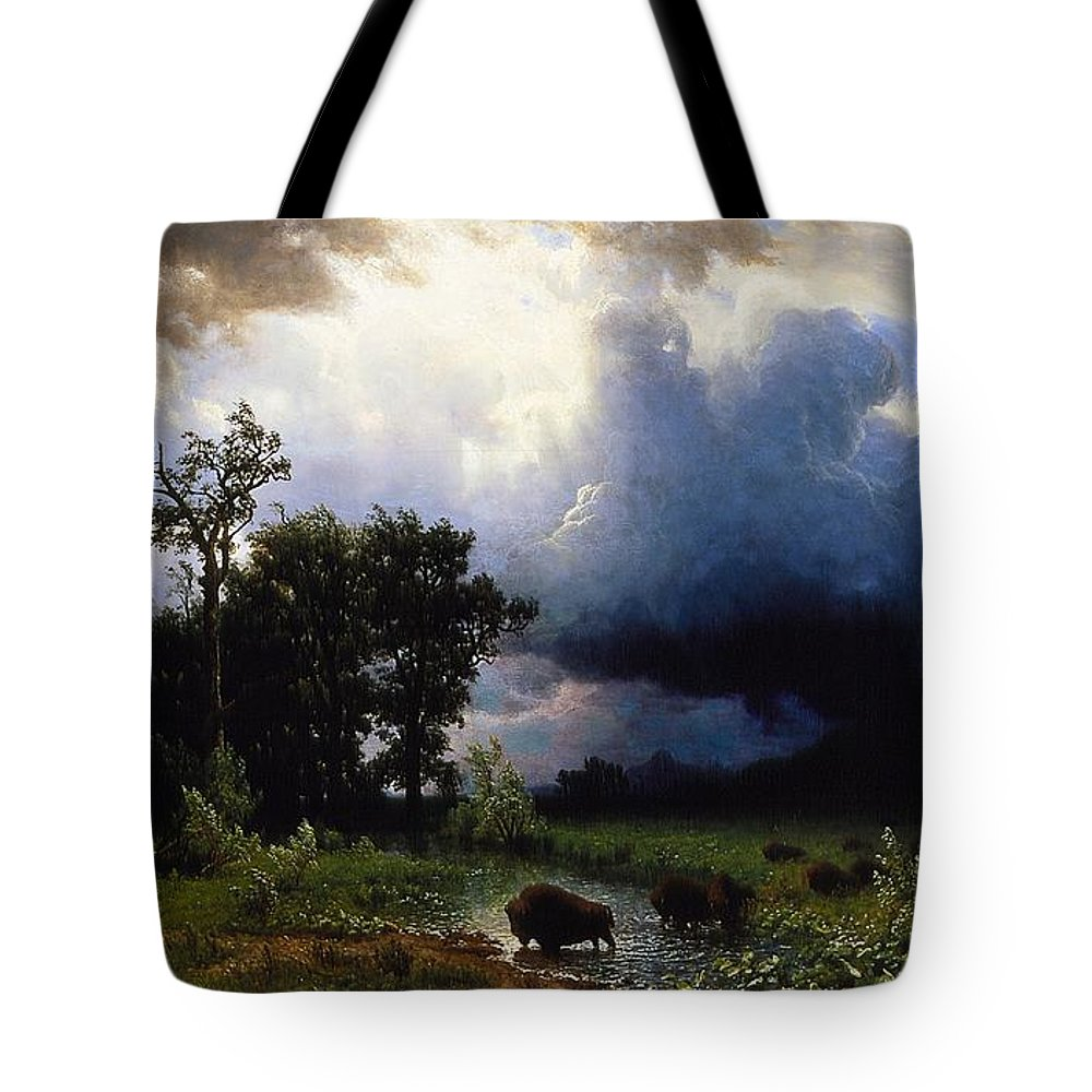 America;american;landscape;remote;rural;wild;countryside;buffalo;buffalos;bison;herd;trail;storm;stormy Sky;clouds;raincloud;dark;us;usa;marsh;marshland;river;animal;animals;sunlight Tote Bag featuring the painting Buffalo Trail The Impending Storm by Celestial Images