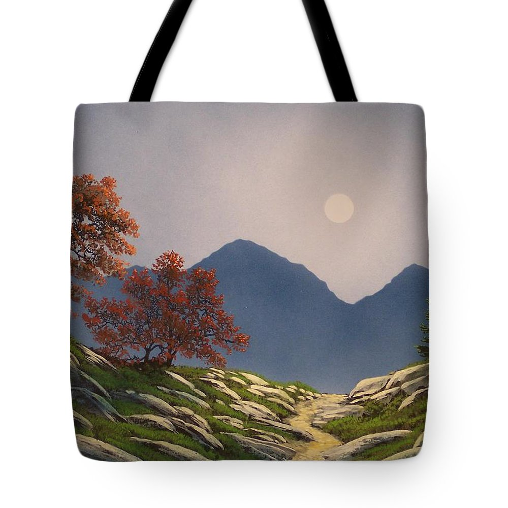 Mountains Tote Bag featuring the painting By The Light Of The Moon by Frank Wilson