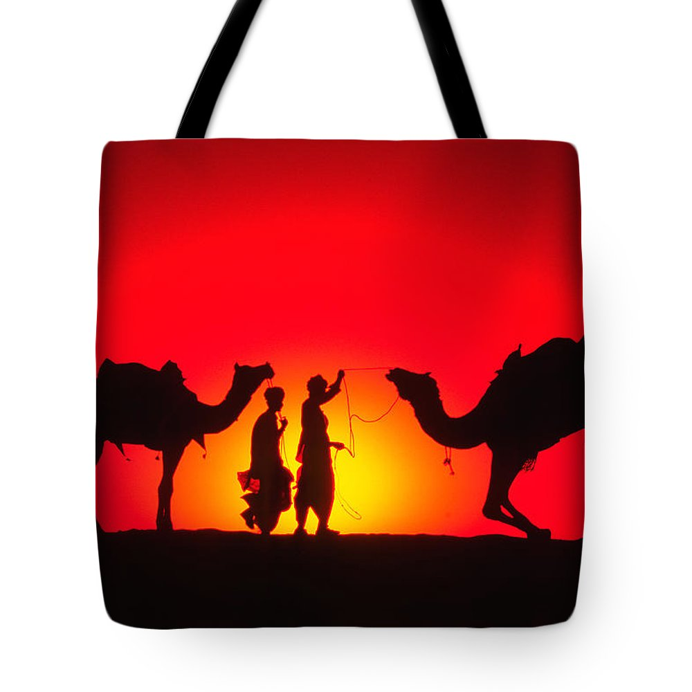 India Tote Bag featuring the photograph Camels At Sunset by Michele Burgess