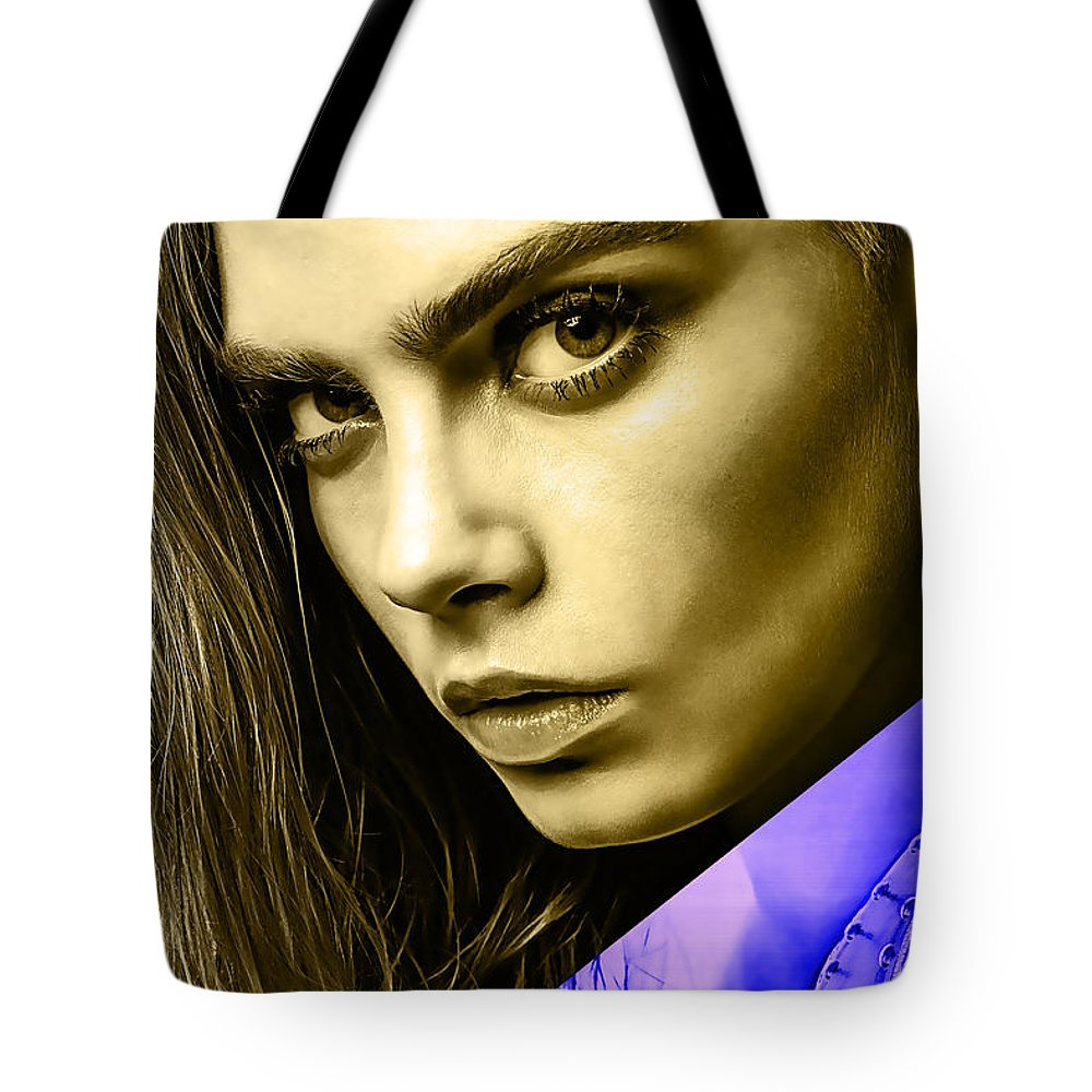 Cara Delevingne Tote Bag featuring the mixed media Cara Delevingne Collection by Marvin Blaine