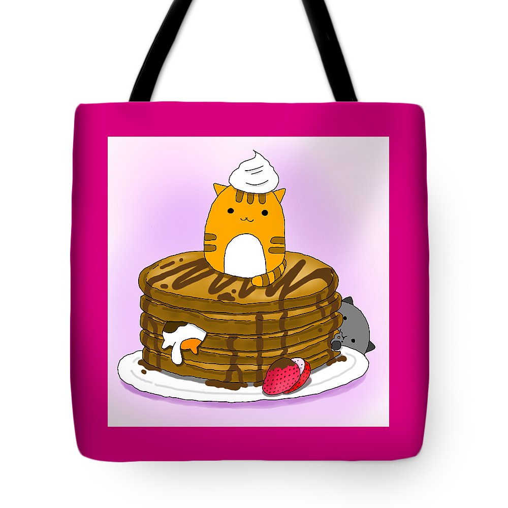 Cat Tote Bag featuring the digital art Cat In Food by Lai Ann Key