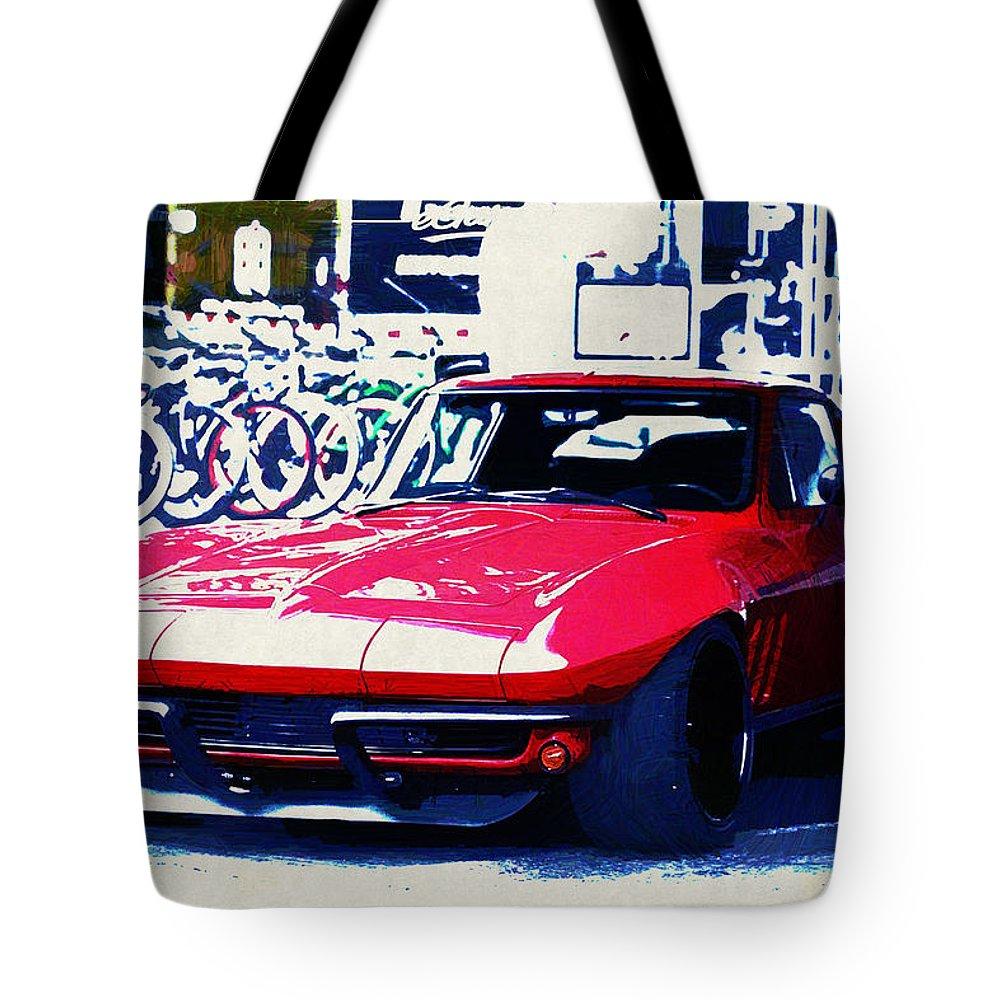 Chevrolet Corvette Tote Bag featuring the digital art Chevrolet Corvette by Lora Battle