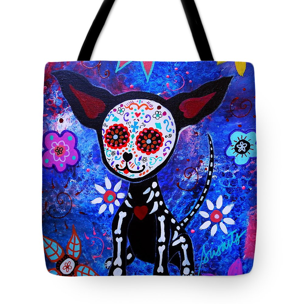 Dog Tote Bag featuring the painting Chihuahua Day Of The Dead by Pristine Cartera Turkus